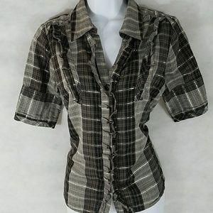 BKE plaid button up blouse gold threads/ruffles